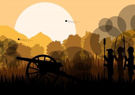 Vintage oude burgeroorlog slagveld oorlogvoering soldaat troepen en artillerie kanon kanonnen
