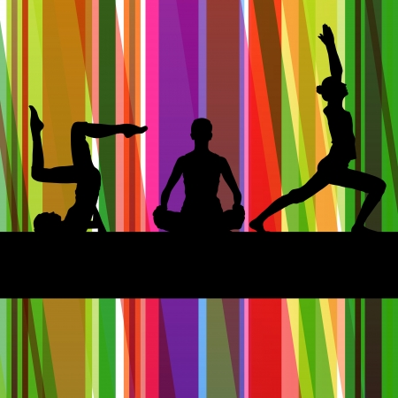 fitness instructor: Women gymnastic exercises fitness illustration colorful line background vector