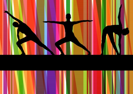 Women gymnastic exercises fitness illustration colorful line background vector Stock Vector - 17871359