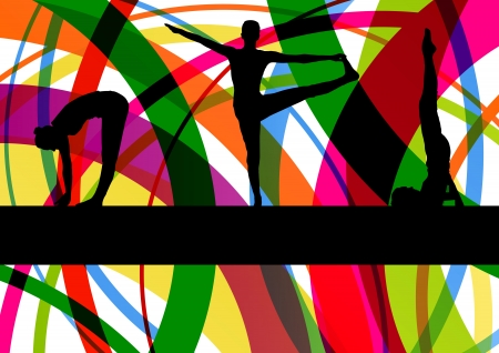 Women gymnastic exercises fitness illustration colorful line background vector Stock Vector - 17871351