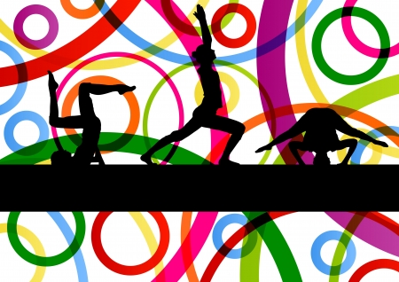 physical fitness: Women gymnastic exercises fitness illustration colorful line background vector