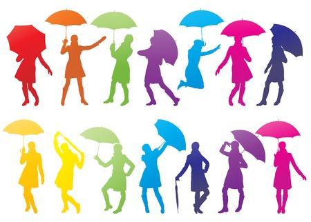 オープンエア: 傘の抽象的なベクトルの背景を持つ少女