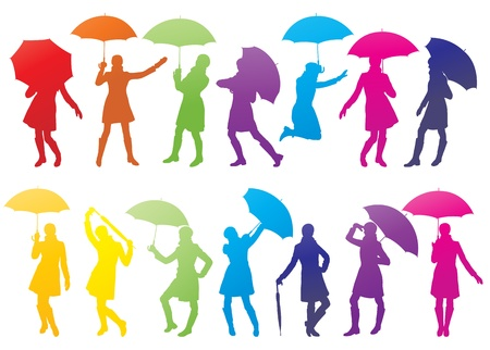 woman umbrella: Girl with umbrella abstract vector background Illustration
