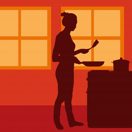 Cook woman or housewife in kitchen vector background Vector
