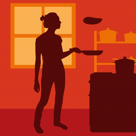 stereotypical: Cook woman or housewife in kitchen vector background