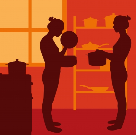 eating lunch: Cook woman or housewife in kitchen vector background