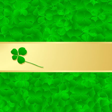 Irish four leaf lucky clovers happy St. Patrick's day background vector Stock Vector - 17871396
