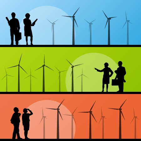 Wind electricity generators and windmills with men and women engineers in landscape ecology illustration background vector Stock Vector - 17871154
