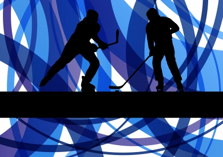 Hockey players on abstract ice field colorful lines illustration background vector Vector