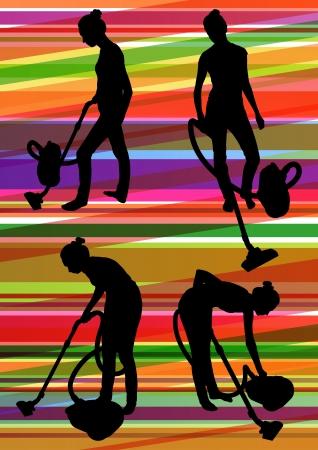 spazzatrice: Donna di pulizia con aspirapolvere e battitappeto pulizia pavimento tappeto in illustrazione vettoriale sfondo colorato