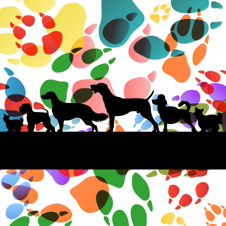 husky: Dogs and dog footprints silhouettes colorful illustration collection background vector