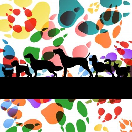 boksör: Köpekler ve köpek ayak izleri renkli illüstrasyon toplama arka plan vektör siluetleri