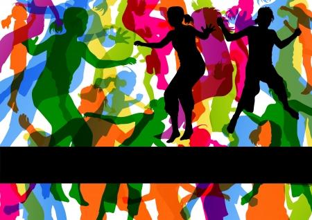 enfants qui dansent: Sauvages enfants color�s sautant silhouettes avec des traces d'animaux dans le vecteur de fond illustration abstraite