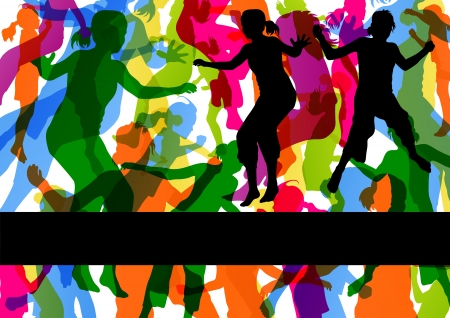 outdoor party: Wild colorful children jumping silhouettes with animal footprints in abstract background illustration vector
