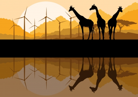 Wind electricity generators, windmills and giraffes in desert mountain landscape ecology illustration background vector Vector