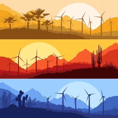 generadores: Generadores de viento el�ctricos, molinos de viento en el desierto de palmeras y cactus de monta�a paisaje plantas ecolog�a fondo ilustraci�n vectorial Vectores