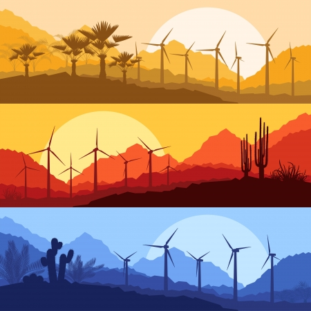 africa sunset: Wind electricity generators, windmills in desert palm tree and cactus plants mountain landscape ecology illustration background vector Illustration