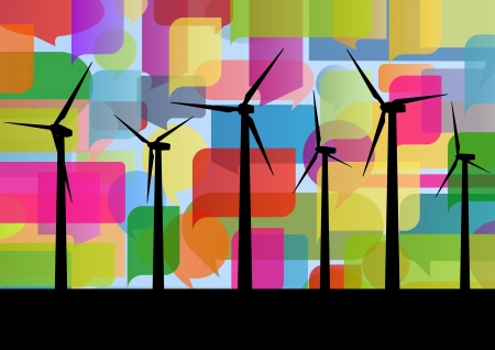 Colorful wind electricity generators abstract lines ecology silhouettes illustration background vector Stock Vector - 17871457