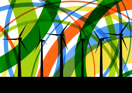 Colorful wind electricity generators abstract lines ecology silhouettes illustration background vector Stock Vector - 17871355