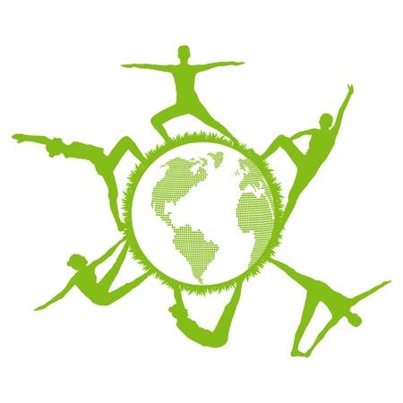actividad fisica: Mujeres y siluetas gimnasia gym alrededor del mundo vector concepto ecología