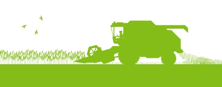 Agricultural combine harvester seasonal farming landscape ecology concept Vector