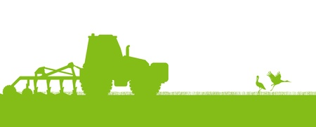 agriculture landscape: Agriculture tractors plowing the land in cultivated country fields ecology vector concept Illustration
