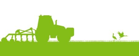 arando: Tractores agr�colas arar la tierra cultivada en el pa�s de campos de vector concepto ecolog�a