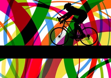 Sport road bike rider bicycle silhouette in colorful abstract line background vector illustration Stock Vector - 17871380