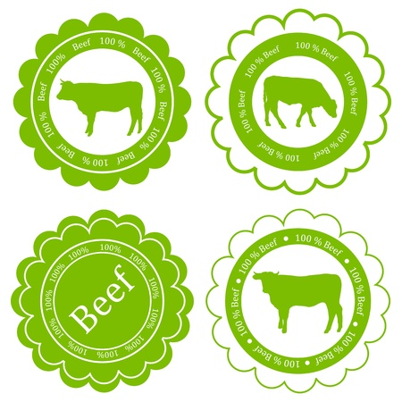 Farm animals market ecology organic beef meat label vector background concept Stock Vector - 18580954