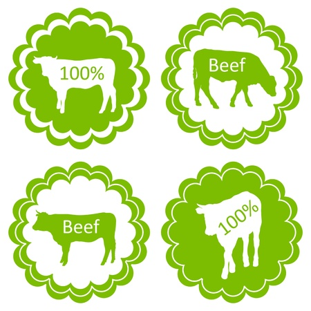 Farm animals market ecology organic beef meat label vector background concept Vector