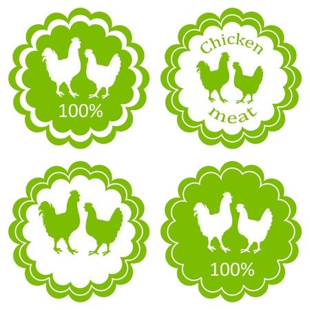 chicken meat: Farm animals market ecology organic chicken meat label vector background concept Illustration