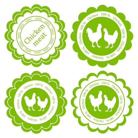 roast chicken: Farm animals market ecology organic chicken meat label vector background concept Illustration