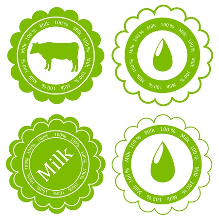 Farm animals market ecology organic milk label vector background concept Vector