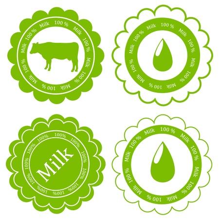 fresh milk: Farm animals market ecology organic milk label vector background concept
