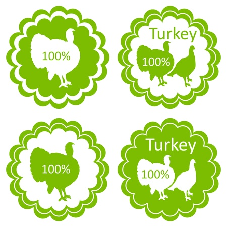 game meat: Organic farm and forest turkey meat food labels illustration collection Illustration