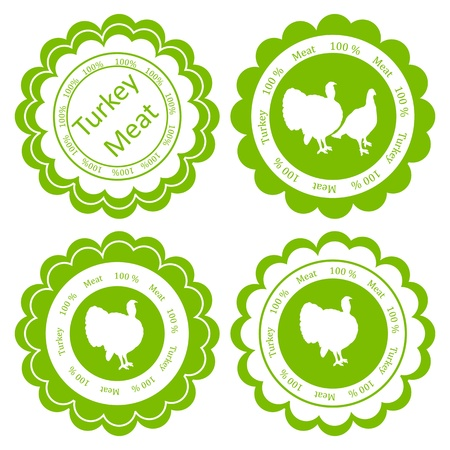 Organic farm and forest turkey meat food labels illustration collection Vector