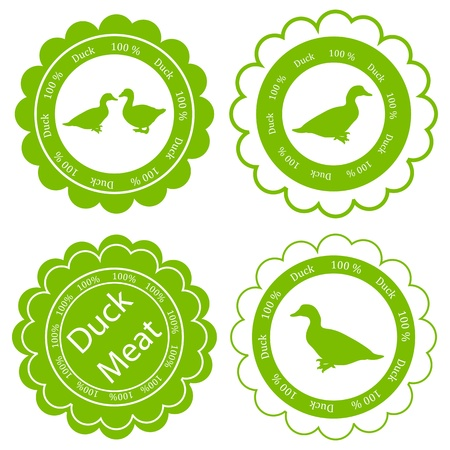 Organic farm and forest goose and duck meat food labels illustration collection Vector