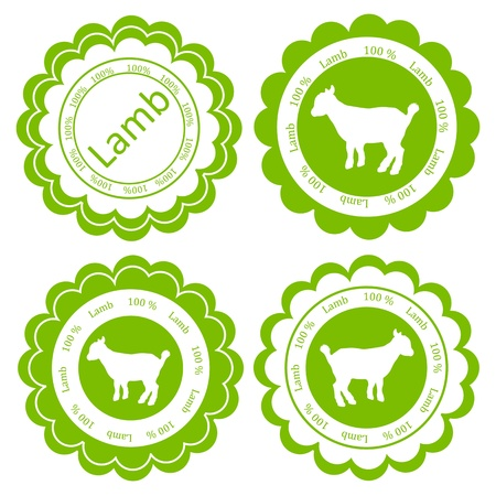butchery: Organic sheep lamb meat food labels illustration collection