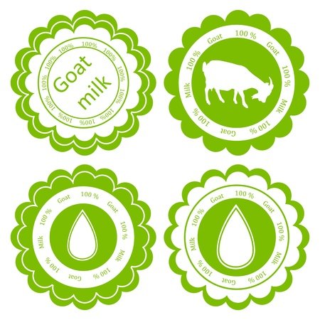 Organic farm dairy goats cheese, milk and meat food labels illustration collection Vector
