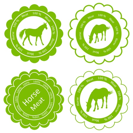 domestic cattle: Organic farm horse meat food labels illustration collection