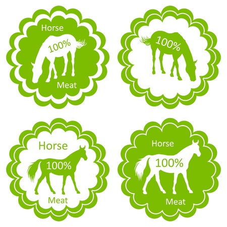 horse meat: Organic farm horse meat food labels illustration collection