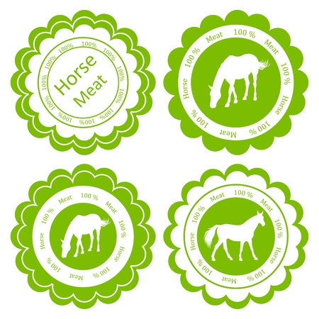main course: Organic farm horse meat food labels illustration collection