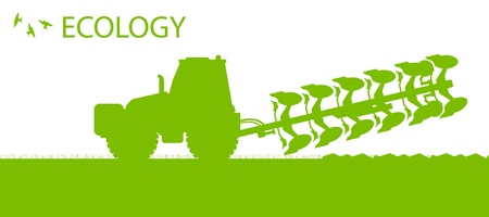 Agriculture tractors plowing the land in cultivated country fields ecology vector concept Illustration
