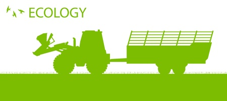 Ecology background organic farming vector concept with tractor and trailer