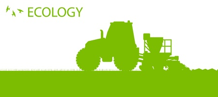 agricultural tools: Ecology background organic farming vector concept with tractor and seeder planting crops on a field for poster