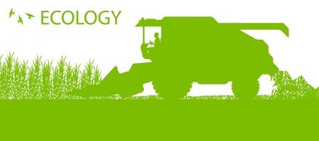 harvester: Agricultural combine harvester seasonal farming landscape ecology concept