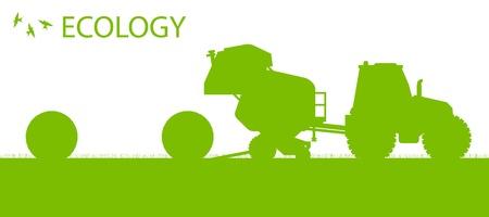 Ecologie achtergrond biologische landbouw vector concept met tractor het maken van hooibalen voor poster Vector Illustratie