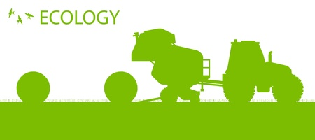 cultivating: Ecology background organic farming vector concept with tractor making hay bales for poster Illustration