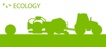 oat field: Ecology background organic farming vector concept with tractor making hay bales for poster Illustration