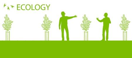 baum pflanzen: Baumpflanzung Vektor Hintergrund �kologie Karte Konzept Illustration